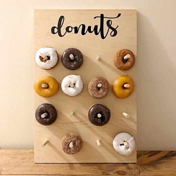 You have to see this #rustic wall decor idea with a donut pegboard. Love it! #HomeDecorIdeas