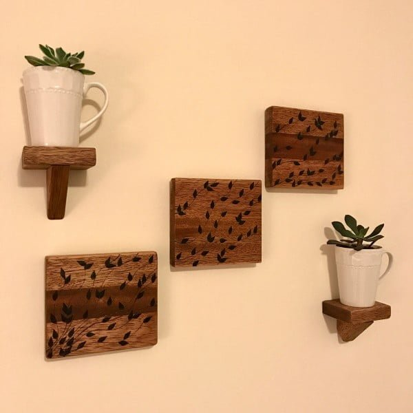 You have to see this #rustic wall decor idea with floating shelves. Love it! #HomeDecorIdeas