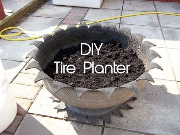 Great idea! Check out the tutorial on how to make a  tire pot garden planter