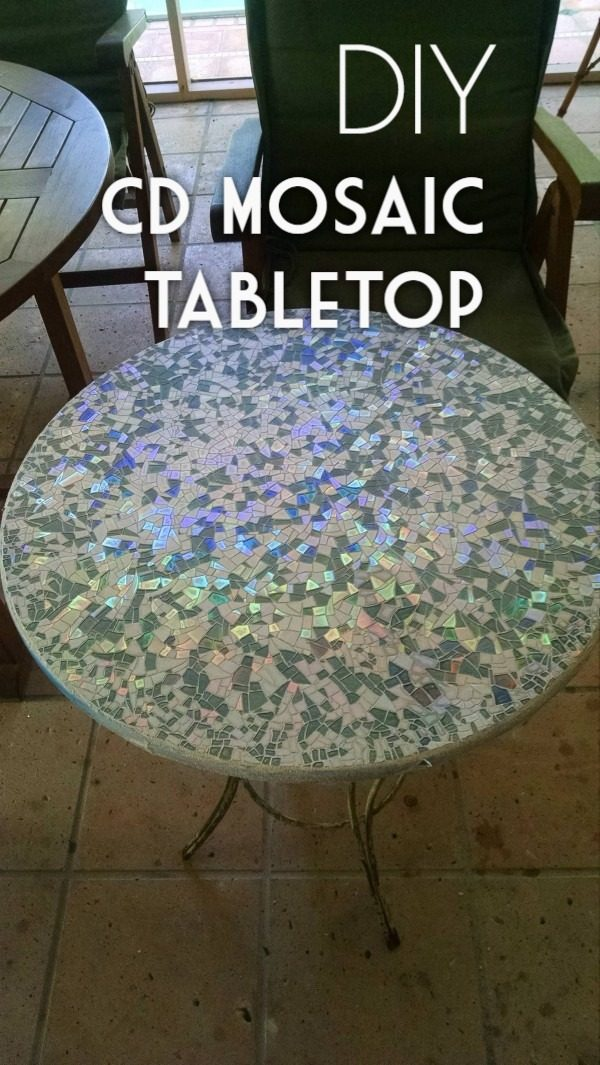 30 Stunning DIY Mosaic Craft Projects for Easy Home Decor - Check out this easy tutorial on how to make a #DIY CD mosaic tabletop. Love it! #HomeDecorIdeas