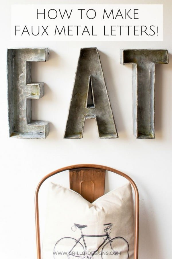 Check out the tutorial on how to make  faux metal letter wall art. Looks easy enough!
