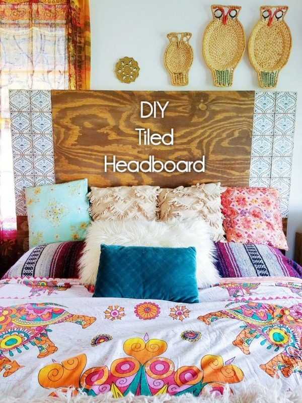 Check out this tutorial on how to make a  tiled headboard. Looks easy enough!