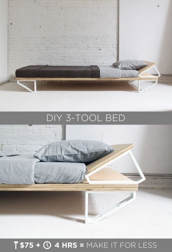 45 Easy DIY Bed Frame Projects You Can Build on a Budget - Check out the tutorial on how to make a #DIY 3-tool bed frame. Looks easy enough! #BedroomIdeas #HomeDecorIdeas
