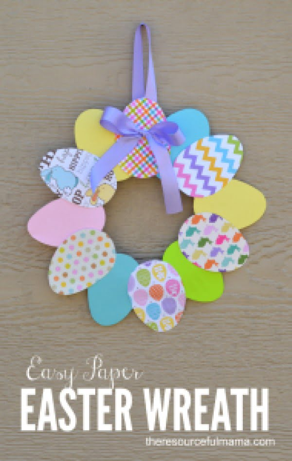 Check out this cute  decor idea with paper egg wreath. Love it!