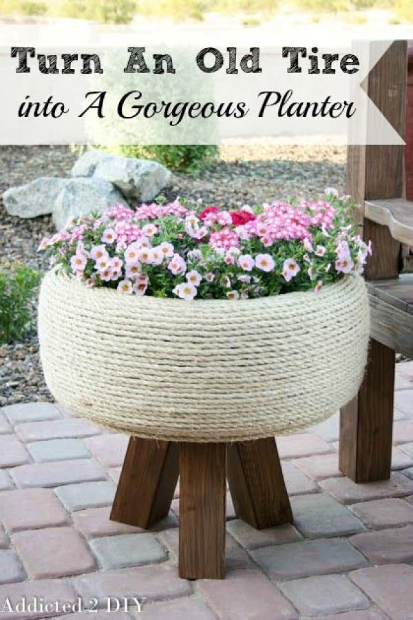 Great idea! Check out the tutorial on how to make a  tire rope garden planter