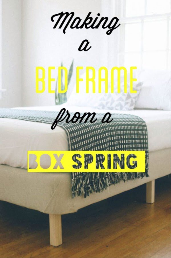 45 Easy DIY Bed Frame Projects You Can Build on a Budget - Check out the tutorial on how to make a #DIY box spring bed frame. Looks easy enough! #BedroomIdeas #HomeDecorIdeas