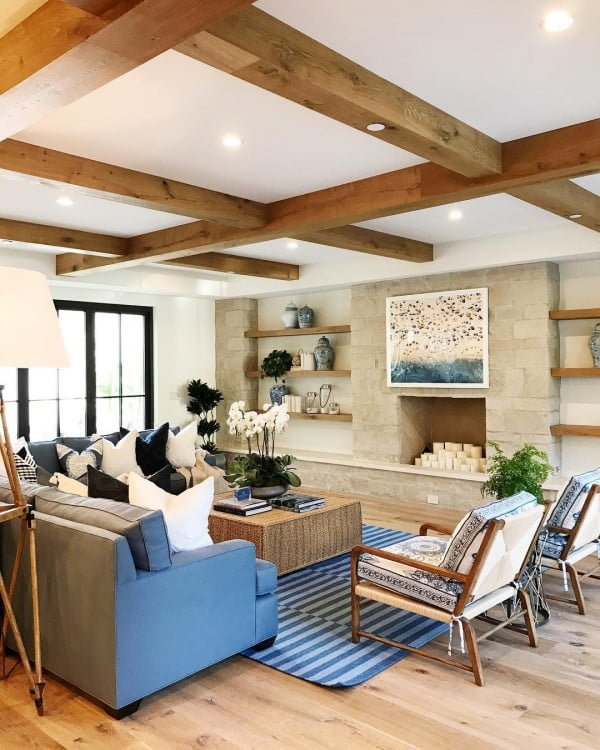 50 Unique Ceiling Design Ideas to Update the Forgotten Wall - You have to see this unique ceiling design idea with wood beams. Love it! #HomeDecorIdeas
