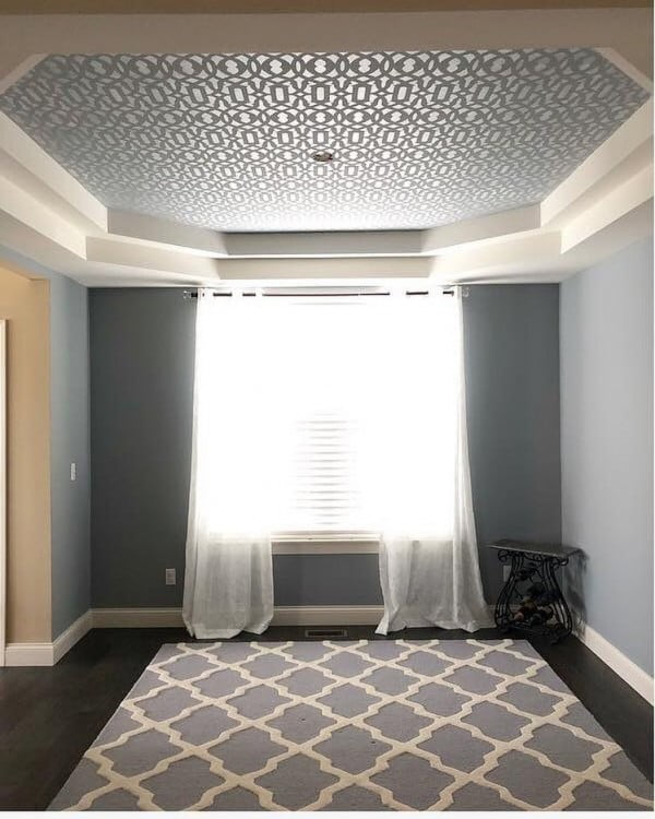 You have to see this unique recessed stenciled ceiling design idea. Love it! #HomeDecorIdeas
