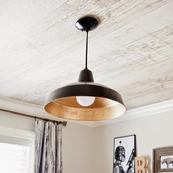 50 Unique Ceiling Design Ideas to Update the Forgotten Wall - You have to see this unique ceiling design idea with wood texture wallpaper. Love it! #HomeDecorIdeas
