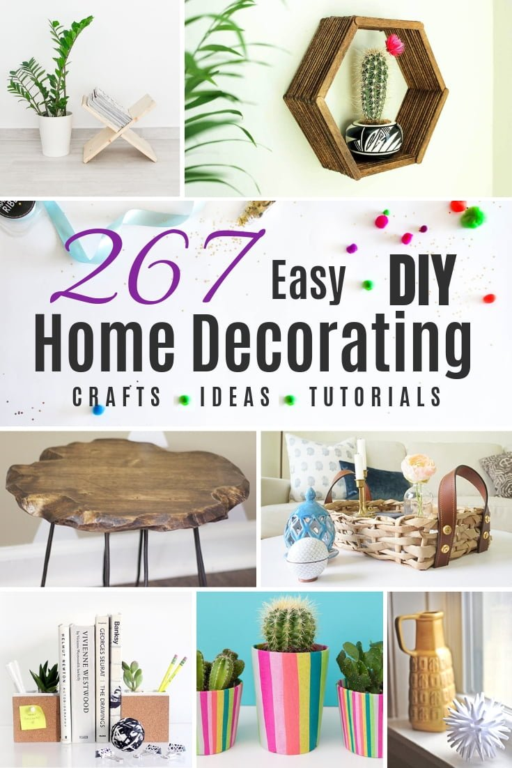 Here's the ultimate guide to DIY home decorating. A whopping 267 ideas for DIY home craft projects with tutorials! #DIY #homedecor