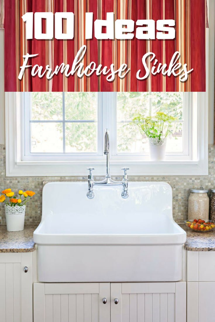 100 Inspiring Farmhouse Sink Ideas for the Kitchen and Bathroom - An epic list of 100 inspiring  sink ideas for bathroom and kitchen. Tons of great ideas!