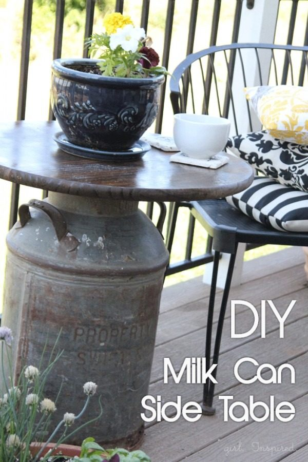 Great idea! Check out the tutorial on how to make a #DIY outdoor milk can side table. #HomeDecorIdeas