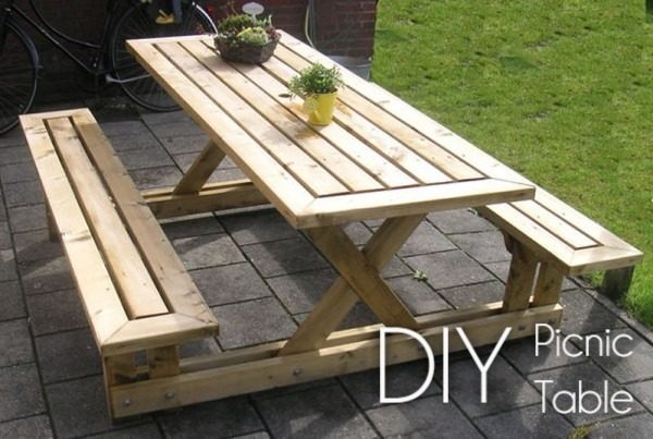 Great idea! Check out the tutorial on how to make a #DIY outdoor picnic table. #HomeDecorIdeas