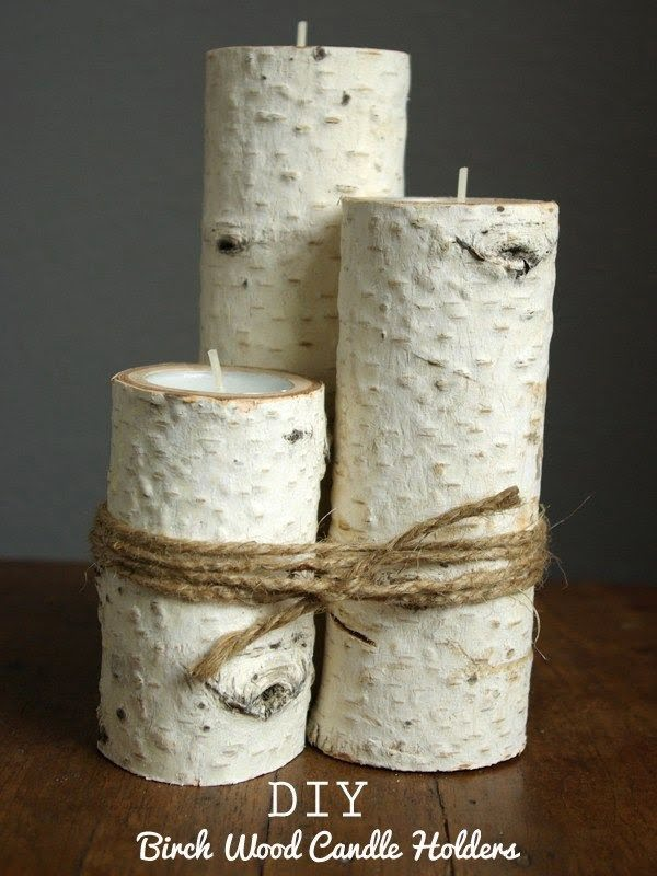 Check out the tutorial on how to make a #DIY #farmhouse birch candle holders. Looks easy enough! #HomeDecorIdeas