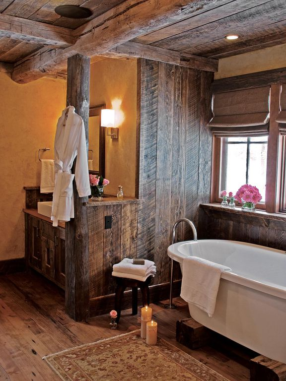 100 Cozy Rustic Farmhouse Bathroom Decor Ideas You Can Easily Copy - You have to see this #farmhousebathroom decor idea with flat-panel cabinets and low wooden ceiling. Love it! #BathroomDecor #HomeDecorIdeas