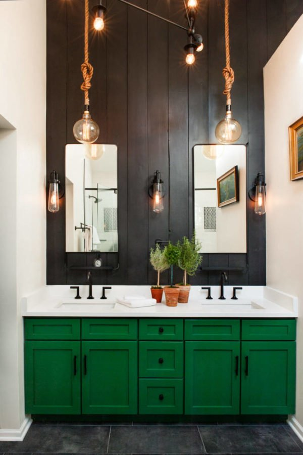 100 Cozy Rustic Farmhouse Bathroom Decor Ideas You Can Easily Copy - You have to see this bathroom decor idea with shaker cabinets and a central dark wood panel wall. Love it!