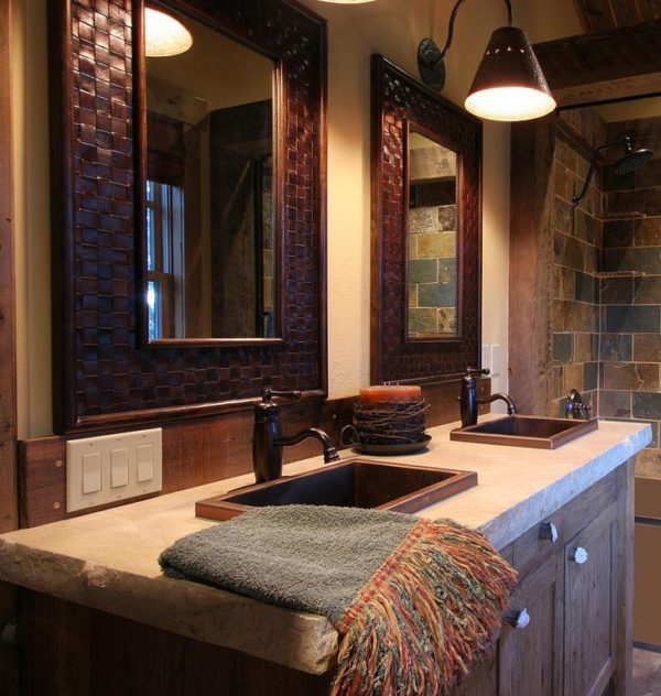 100 Cozy Rustic Farmhouse Bathroom Decor Ideas You Can Easily Copy - You have to see this #farmhousebathroom decor idea with double-sink arrangement and an warm wood-tile components. Love it! #BathroomDecor #HomeDecorIdeas