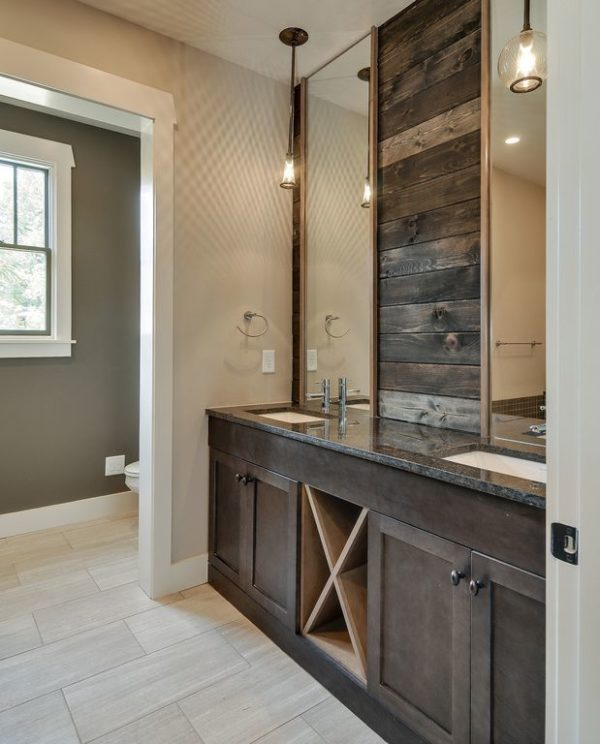 100 Cozy Rustic Farmhouse Bathroom Decor Ideas You Can Easily Copy - You have to see this bathroom decor idea with granit counters and a double sink installment. Love it!