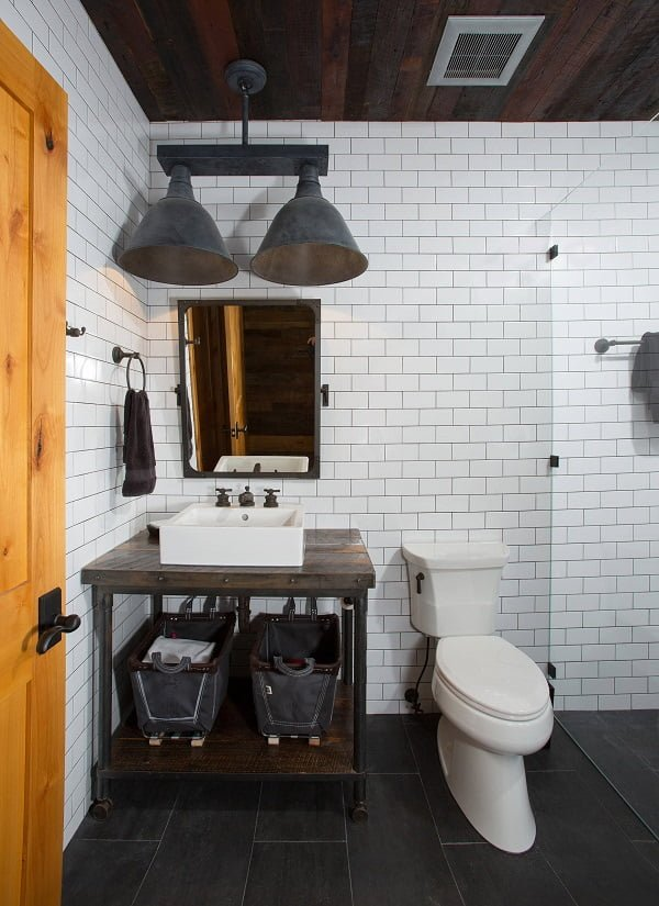 100 Cozy Rustic Farmhouse Bathroom Decor Ideas You Can Easily Copy - You have to see this bathroom decor idea with a vessel sink and hinged glass shower door. Love it!