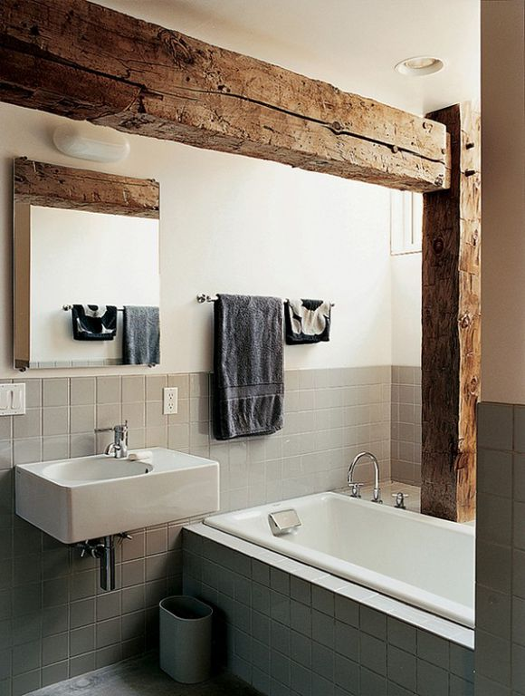 100 Cozy Rustic Farmhouse Bathroom Decor Ideas You Can Easily Copy - You have to see this #farmhousebathroom decor idea with limestone floors and Corian-inspired counters. Love it! #BathroomDecor #HomeDecorIdeas