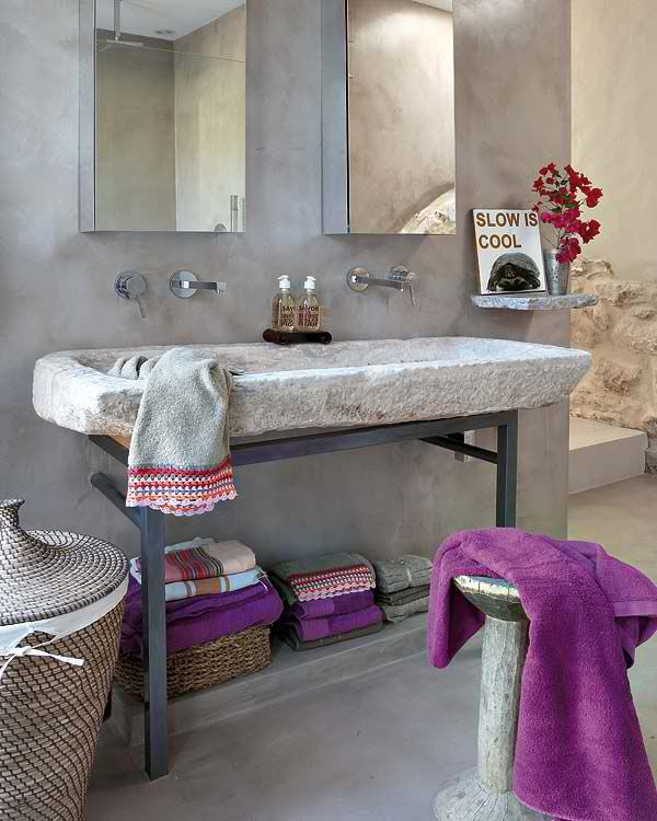 100 Cozy Rustic Farmhouse Bathroom Decor Ideas You Can Easily Copy - You have to see this #farmhousebathroom decor idea with console sink and external stone-wall staircase. Love it! #BathroomDecor #HomeDecorIdeas