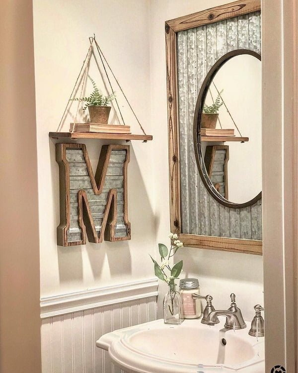 100 Cozy Rustic Farmhouse Bathroom Decor Ideas You Can Easily Copy - You have to see this bathroom decor idea with wooden ornaments and metalic faucet sink. Love it!