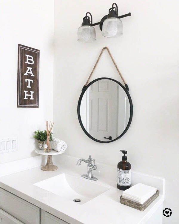 100 Cozy Rustic Farmhouse Bathroom Decor Ideas You Can Easily Copy - You have to see this #farmhousebathroom decor idea with precious bath sign and porcelain sink perfection. Love it! #BathroomDecor #HomeDecorIdeas