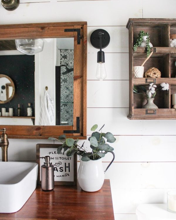 100 Cozy Rustic Farmhouse Bathroom Decor Ideas You Can Easily Copy - You have to see this #farmhousebathroom decor idea with wooden sink countertop and copper faucet. Love it! #BathroomDecor #HomeDecorIdeas