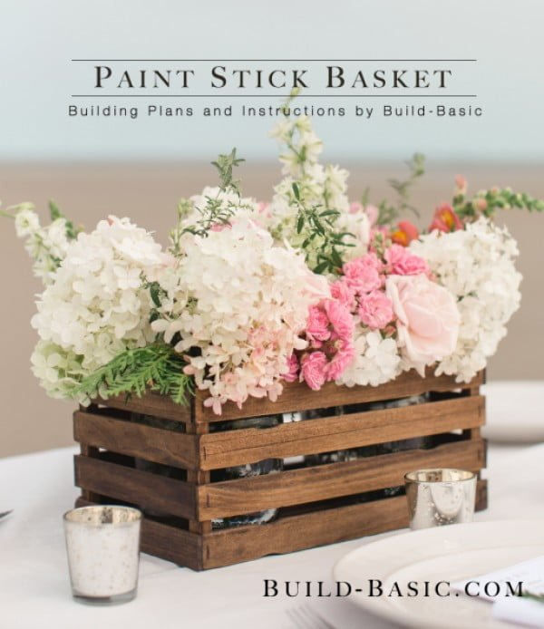 How to make a   paint stick basket centerpiece. Looks easy enough!