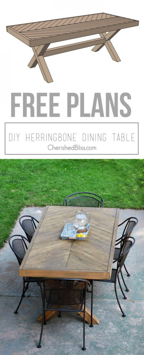 Great idea! Check out the tutorial on how to make a #DIY outdoor herringbone table. #HomeDecorIdeas