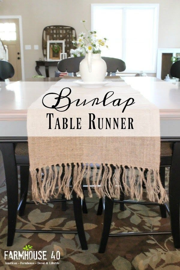 Check out the tutorial on how to make a #DIY #farmhouse burlap table runner. Looks easy enough! #HomeDecorIdeas