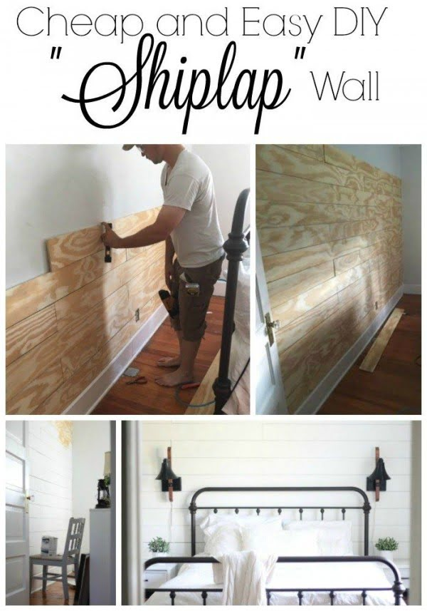 Check out the tutorial on how to make a #DIY #farmhouse shiplap wall. Looks easy enough! #HomeDecorIdeas