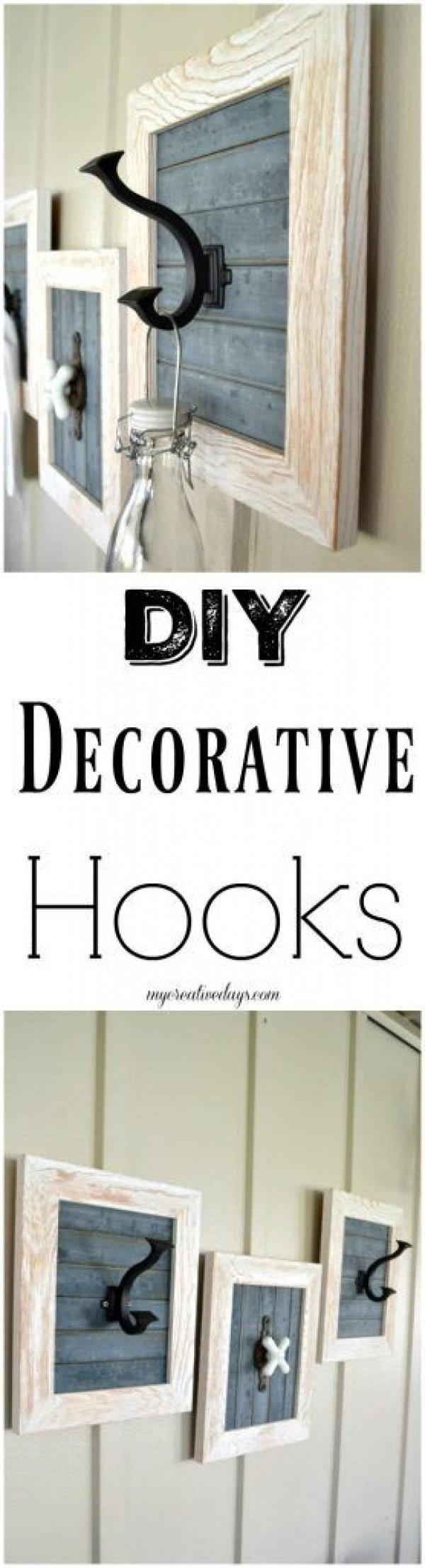 Check out the tutorial on how to make a #DIY #farmhouse decorative hooks. Looks easy enough! #HomeDecorIdeas