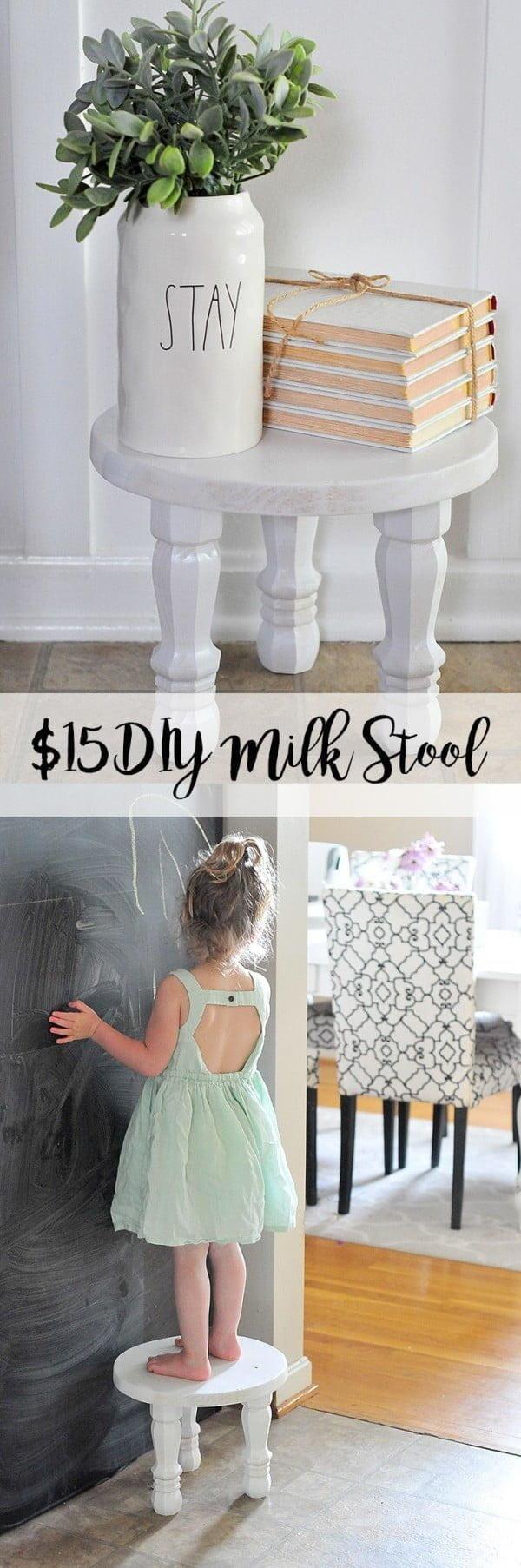 Check out the tutorial on how to make a #DIY #farmhouse milk stool. Looks easy enough! #HomeDecorIdeas