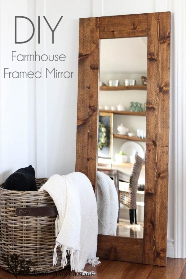 Check out the tutorial on how to make a #DIY #farmhouse wood mirror frame. Looks easy enough! #HomeDecorIdeas