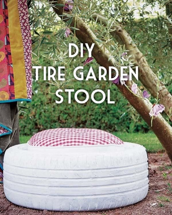 Great idea! Check out the tutorial on how to make a #DIY outdoor old tire stool. #HomeDecorIdeas