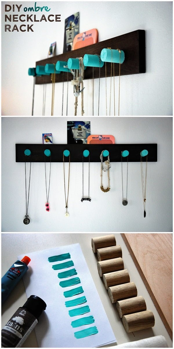 Check out the tutorial on how to make a  ombre necklace rack. Looks easy enough!