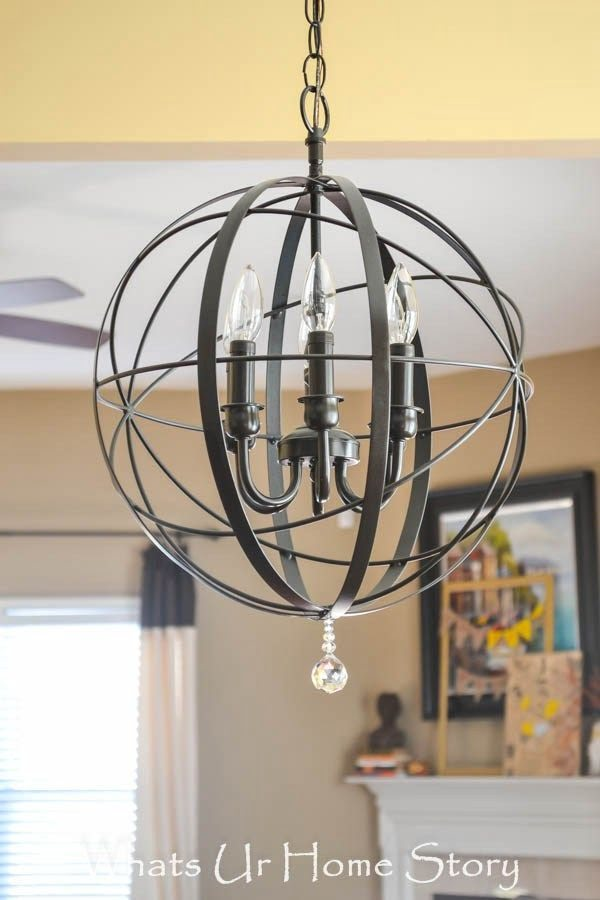 Check out the tutorial on how to make a #DIY #farmhouse orb chandelier. Looks easy enough! #HomeDecorIdeas