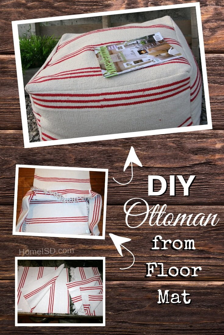 DIY Pouf Ottoman from a Floor Mat - what a great idea! Check out these other DIY ottoman project ideas too!