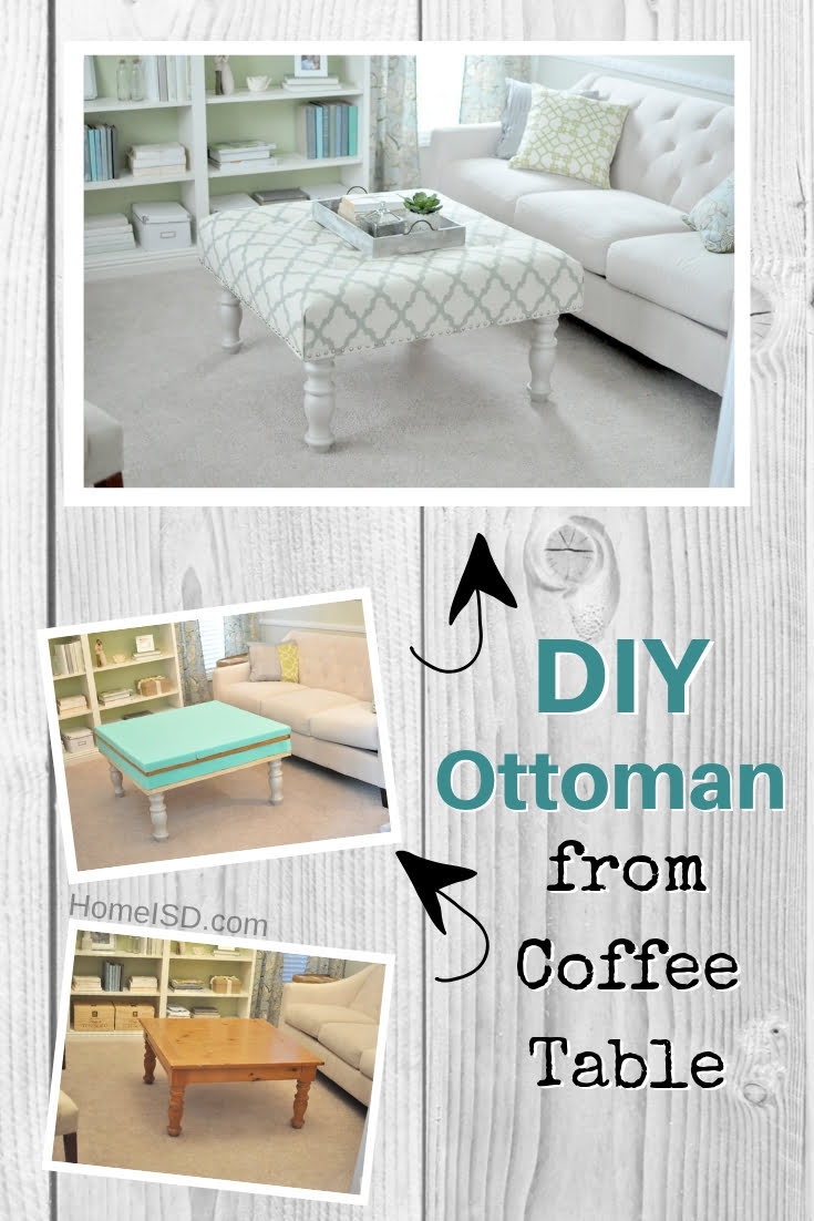 DIY ottoman from an old coffee table. Great project idea! Check out other DIY ottoman ideas with tutorials too!