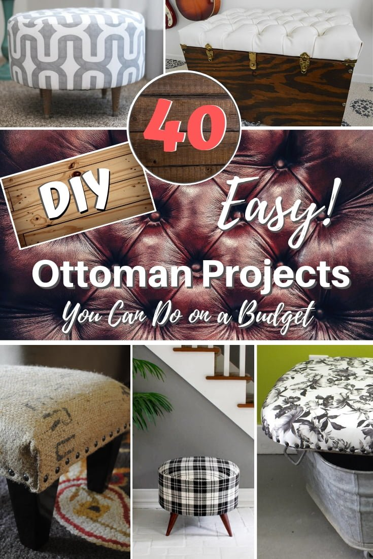 A DIY ottoman is one of the easiest projects you can make. Here are 40 terrific ideas with tutorials to choose form! #homedecor #DIY #crafts