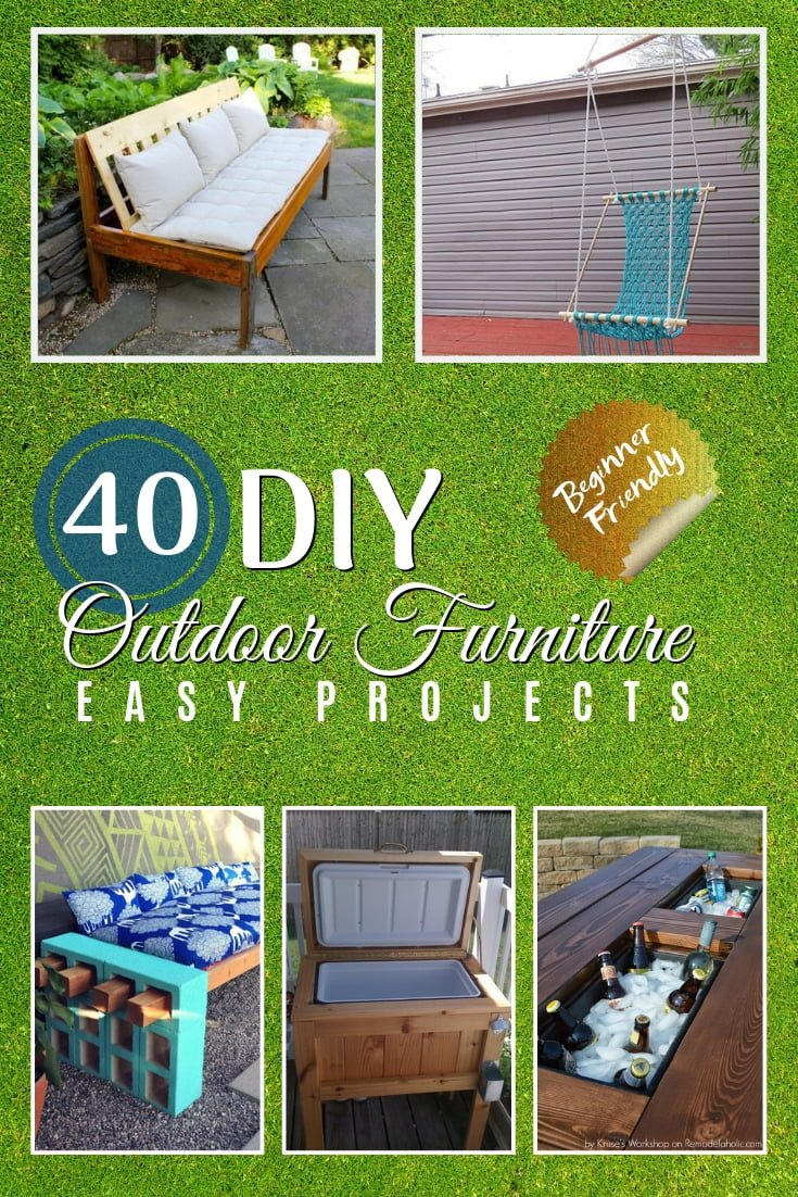 You can save on outdoor furniture with these DIY projects. It's a great way to build your own furniture for penny on the dollar! A great list of 40 easy tutorials! #furniture #DIY