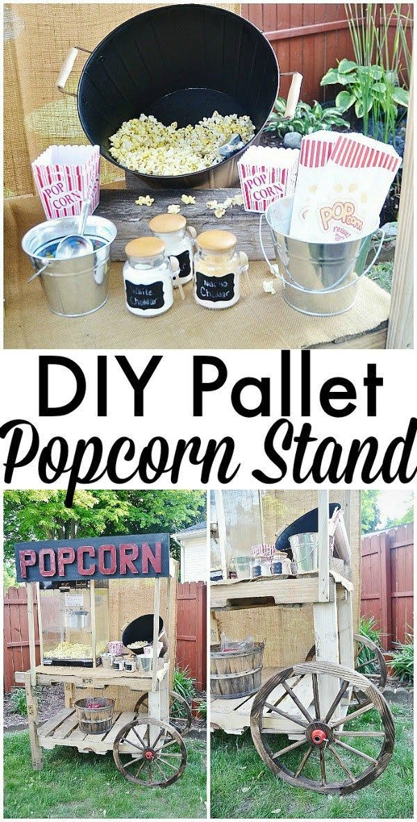 Great idea! Check out the tutorial on how to make a #DIY outdoor pallet popcorn stand. #HomeDecorIdeas