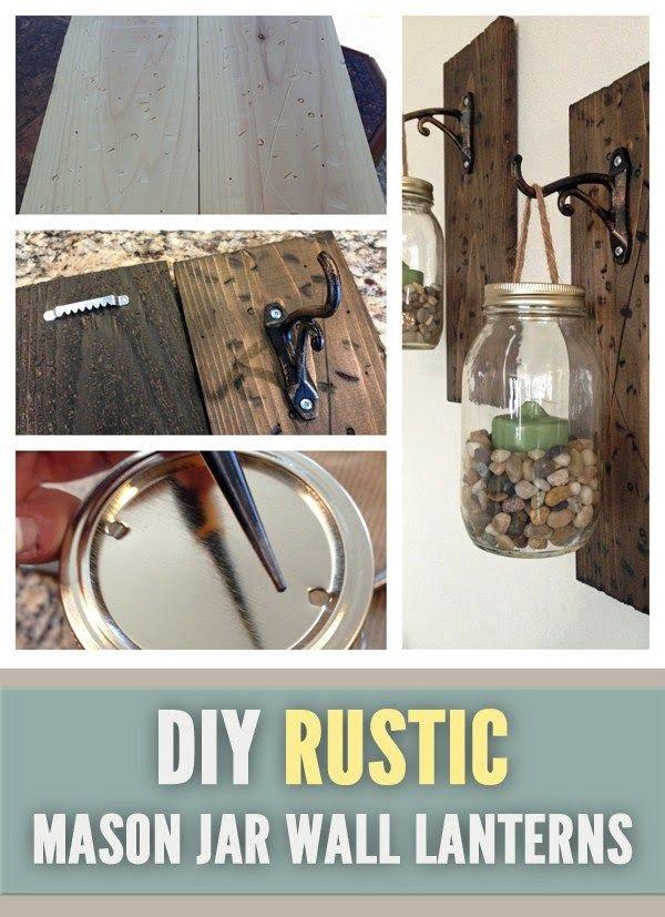 Check out the tutorial on how to make a #DIY #farmhouse mason jar wall lanterns. Looks easy enough! #HomeDecorIdeas