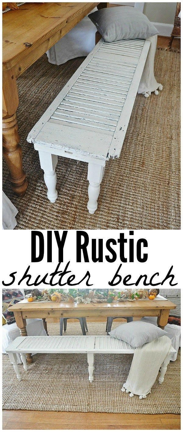Check out the tutorial on how to make a #DIY #farmhouse shutter bench. Looks easy enough! #HomeDecorIdeas