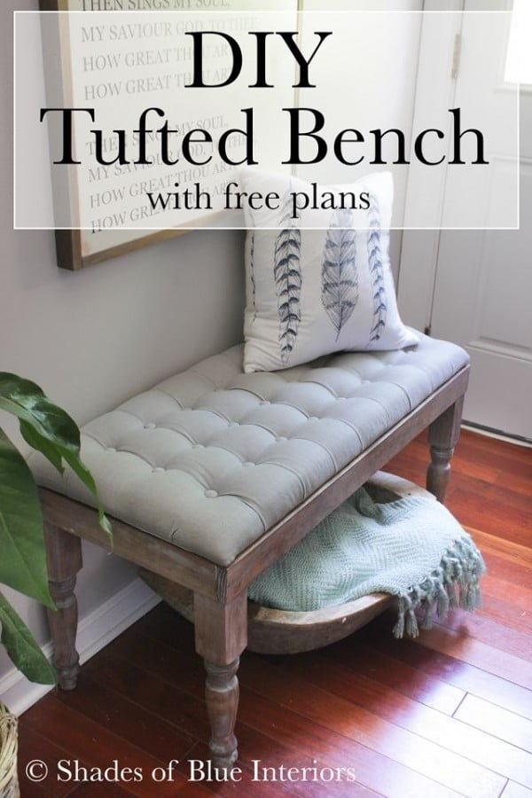 Check out the tutorial on how to make a #DIY tufted bench. Looks easy enough! #HomeDecorIdeas