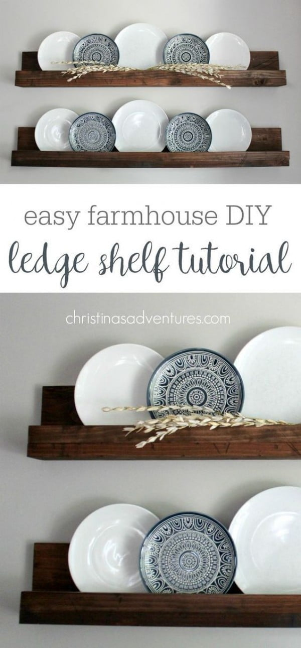 Check out the tutorial on how to make a #DIY #farmhouse ledge shelf. Looks easy enough! #HomeDecorIdeas