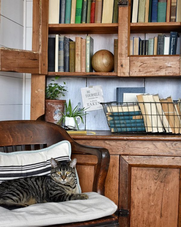 decor idea with white wood walls and metalic storage basket. Love it!