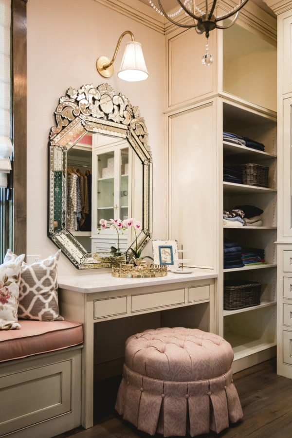 decor idea with mosaic-inspired mirror and blush vanity. Love it!