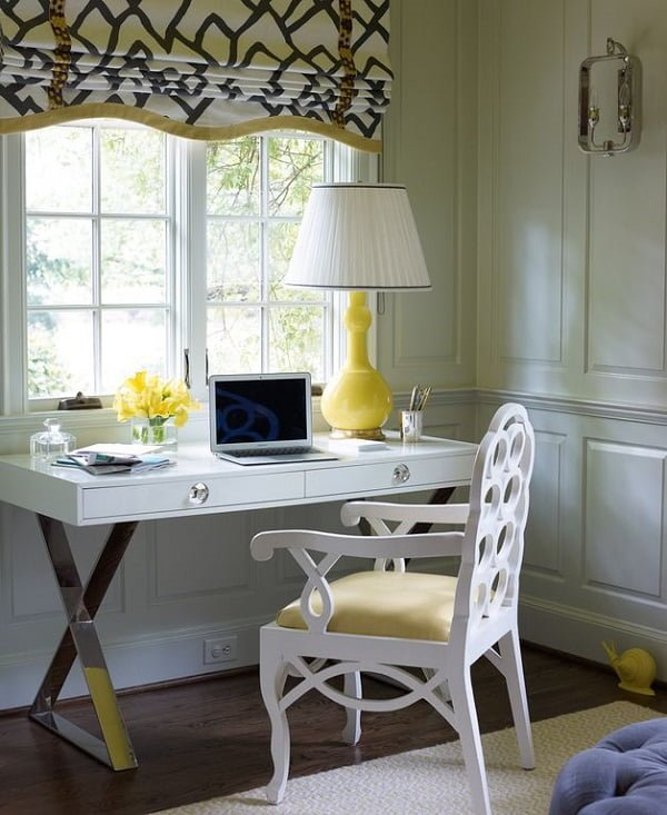 100 Charming Farmhouse Decor Ideas for Your Home Office - You have to see this #farmhouseoffice decor idea with waincoting walls and dreamy vintage office chair. Love it! #FarmhouseOfficeDecor #HomeDecorIdeas